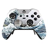 eXtremeRate The Great Wave Gemustert Soft Touch Front Gehäuse Shell Frontplatte, für Microsoft Xbox One Elite Controller mit Thumbstick Accent Ringe