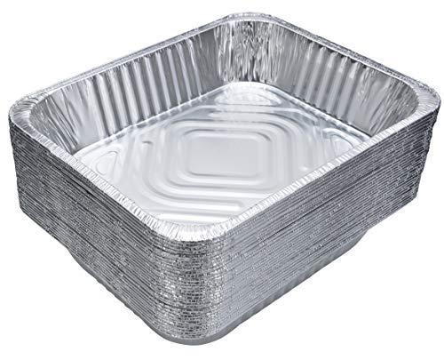 Dobi quadratisch Kuchen Pfannen-Einweg Aluminium Folie Backformen, Standard-Größe, 22,9x 4,4cm (30Stück) Half-Size Pans silber Chafer-chafing Dish