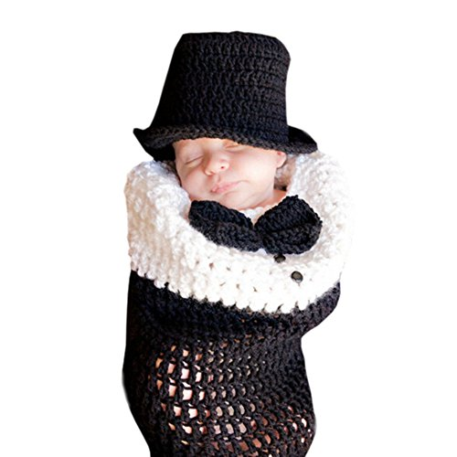 DELEY Baby Jungen Handgemachte Gestrickte Gentleman Kostüm Passt Säuglings Kleidung Outfit Schlafsack Foto Requisiten 0-6 Monate