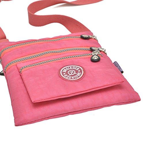 Supamodern tracolla in nylon impermeabile per donne a tracolla iPad bag Phone bag leggero sacchetto esterno al giorno per donne, donna, Purple Red, S Pink