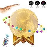 Mondlampe, AFBEST 16 Farben 15 cm 3 Bedienmöglichkeiten 4 Lichtkonvertierungsmodi 3D-Druck LED-Mondlicht-Fernbedienung stufenlose Dimmung RGB-Tisch-Nachttischlampe mit Holzhalterung