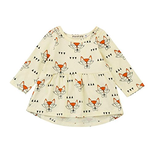 For 0-4 Years Baby,SaihuiToddler Baby Kids Girls Fox Cartoon Print Princess Stripe Dress Clothes Outfits (C, 3T)