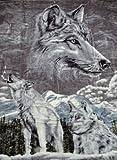 Kuscheldecke Tagesdecke Decke Motiv Silber Wolf 160x200cm