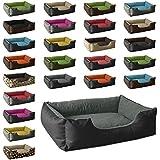 BedDog Hundebett LUPI / Hundesofa aus Cordura & Microfaser-Velours / waschbares Hundebett mit Rand / Hundekissen eckig / für drinnen & draußen / XL / THE-ROCK / schwarz-grau