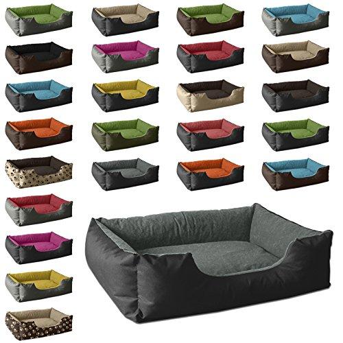 BedDog Hundebett LUPI / Hundesofa aus Cordura & Microfaser-Velours / waschbares Hundebett mit Rand / Hundekissen vier-eckig / für drinnen & draußen / S / THE-ROCK / schwarz-grau