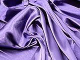 Uni Stretch Satin Kleid Stoff lila–Meterware + Gratis