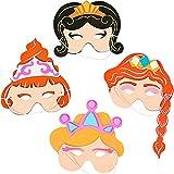German Trendseller® - 4 x masques de princesses Wilma et Betty┃ en mousse ┃pour petits filles ┃la fête de princesses┃ l'anniversaire d'enfant┃carnaval