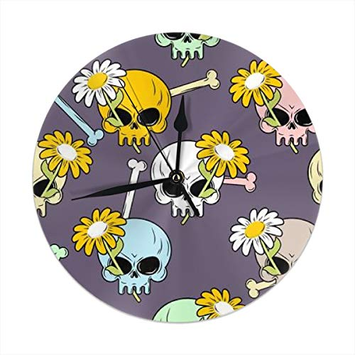 HomeMats 9.8 Inch Round Wall Clock,Skulls and Flowers Seamless .Halloween Silent Non Ticking Decorative Clocks for Kitchen, Living Room, Bedroom, Office (Kit Cat Clock-pink)