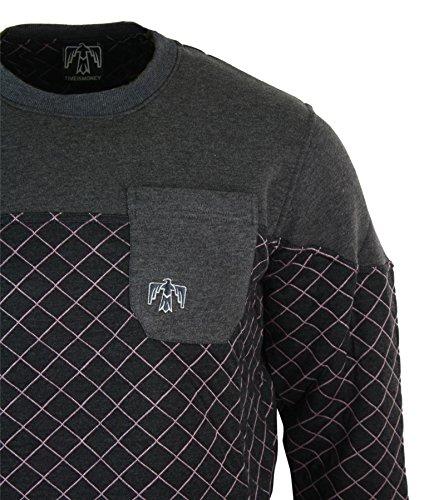 Sweatshirt homme pull ou gilet capuche col rond ou en V mélange coton style décontracté Anthracite