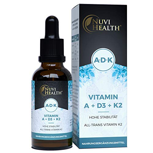 Vitamin A + D3 + K2-50 ML = 1700 Tropfen - Einführungspreis - Laborgeprüfter Komplex: VitaMK7 von Gnosis® +99,7% All Trans + hoch bioverfügbares Vitamin D3 (1000 IE) + Vitamin A Retinol - Flüssig