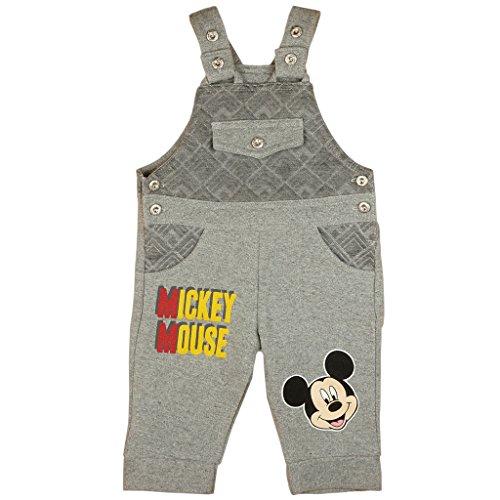 Jungen BABY-HOSE / LATZ-HOSE Mickey Mouse mit Jacquard-Muster und Motiv, GRÖSSE 74, 80, 86, 92, 98, 104, SPIEL-HOSE mit Knöpfen und Taschen, als Freizeit-Hose oder Jogging-Hose Color Hellgrau, Size 86 (Schwarze Jungen-schlaf-hose)