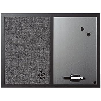Bi Office Kombitafel Black Shadow, Pinnwand Und Whiteboard, Hellgrau  Textiloberfläche Und Silber Magnetisch, MDF Rahmen 22 Mm Dicker, 60 X 45 Cm