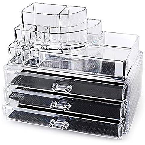 LEORX acrilico trucco cosmetici Jewelry Storage Box Case Porta organizer