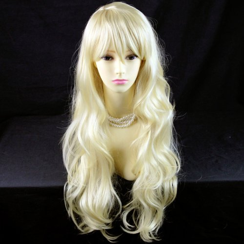 Perruque Belle et Sexy Dégradé Blond Pâle Longue et Ondulée Contact Peau