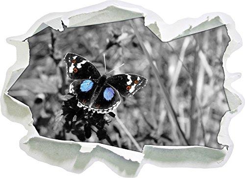 Stil.Zeit außergewöhnlicher Schmetterling auf Grashalm schwarz/weiß, Papier 3D-Wandsticker Format: 92x67 cm Wanddekoration 3D-Wandaufkleber Wandtattoo