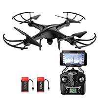 Drone with HD Camera, AMZtronics Upgraded Version A15W Wireless FPV 2.4Ghz RC Quadcopter RTF Altitude Hold UFO with Newest Hover and 3D Flips Function, (TF Card & Card Reader Included) by AMZtronics