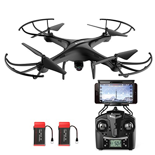 Drone with HD Camera, AMZtronics Upgraded Version A15W Wireless FPV 2.4Ghz RC Quadcopter RTF Altitude Hold UFO with Newest Hover and 3D Flips Function, (TF Card & Card Reader Included)