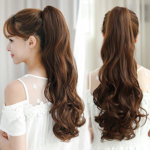 (Realistische natürliche langen lockigen Haaren/große Welle von gefälschten Pony tail/Lange Birne Bände in einem Pferdeschwanz und Lebendige natürliche langes lockiges Haar-E)