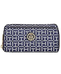 Tommy Hilfiger Wallet Women TH Double Zip Jacquard, Black.White