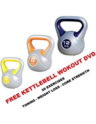 Kettlebell Lot de 4Kg-8kg-12kg Vinyle Kettlebell Newly Lot de 3Kettelbells: gratuit Kettlebell Work Out DVD