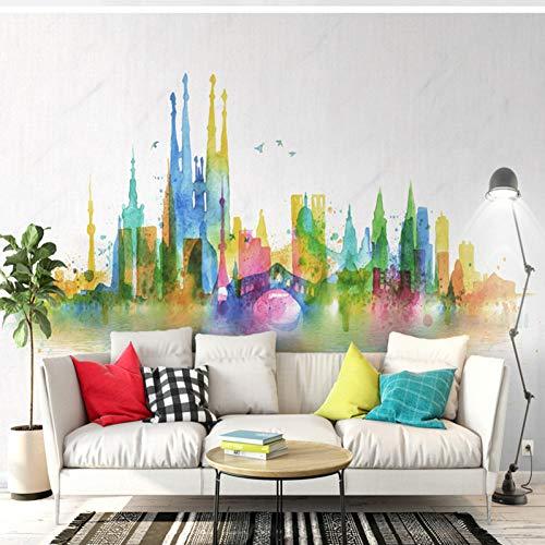 Yshasag murale di seta carta da parati moderna carta da parati moderna carta da parati riflessione della città sfondi tv colorati unici sfondi 3d per murales della lobby,350cm*256cm