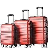 Flieks Hartschale Trolley Koffer Reisekoffer Zwillingsrollen Reisekoffer mit Zahlenschloss Handgepäck mit (Rot, Set)