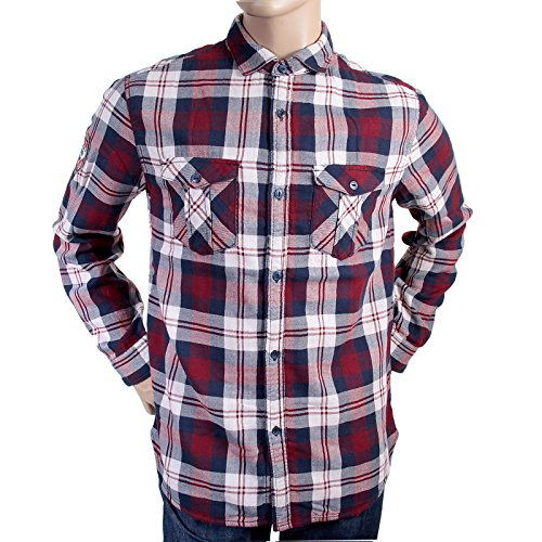 Armani Jeans da uomo, colore: rosso e blu a quadri U6CO5 AJM1985 NM-Maglietta a maniche lunghe