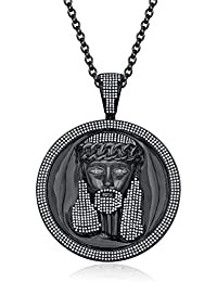 "Silvernshine Men's 1.40 Ct Round D/VVS1 Diamond Jesus Face Pendant 18"" Chain In 14K Black Gold Fn"