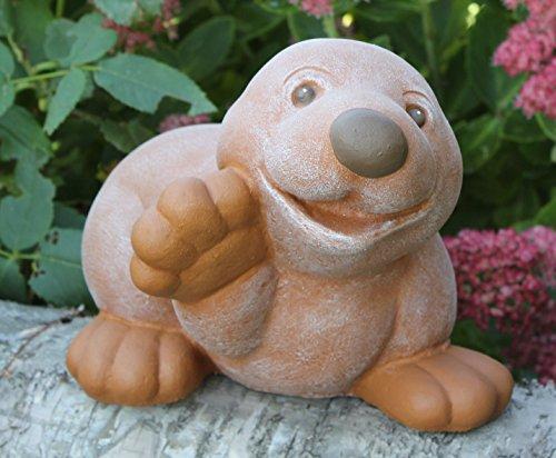 Steinfigur Maulwurf winkend - Terrakotta, Garten, Deko, Stein, Figur, Frostsicher