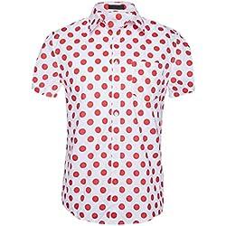 CATERTO Camisa Superior de Manga Corta con Estampado de Lunares Labios para Hombre Camisa Casual de Algodón by Rojo x-Large