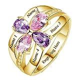 Anillo de plata 925 personalizado anillo de la madre simulación piedra natal nombre personalizado(base chapada en oro 14)
