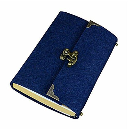 sayeec Retro Slim Filz Cover Hardcover Notebook mit Bronze Lock-liniert Tagebuch Travel Schreiben Journal Zeichnen Einband 7.8 * 5.5inch blau