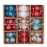 Victor's Workshop 49 pezzi 30mm / 1.2inch Rosso e Blu e Bianco Palline di Natale Palle di Natale decorazione albero Decorazioni natalizia in plastica per albero di Natale Decorazione (rosso / blu / argento / bianco)