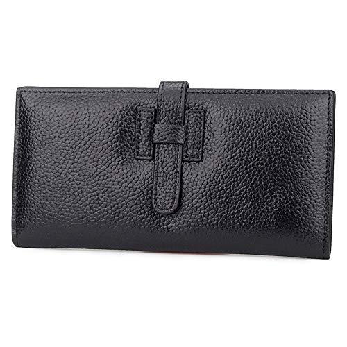 Ultradünne Damenbrieftasche schwarz 19,5 cm * 9,5 cm * 1 cmRobustes doppeltes Falten - Visitenkartenhalter - Münztasche - Box usw. für mehrere Zwecke -