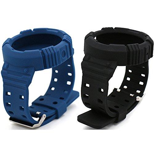 Eletespt Reemplazo Pulsera de Silicona de Repuesto Venda de Reloj de Inteligente Correa para Motorola Moto 360 1 Generación Banda (Black Blue 2)