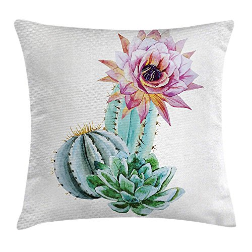 Cactus Decor Throw Pillow Cushion Cover, Cactus Spikes Flower in Hot Mexican Desert Sand Botanic Natural Image, Decorative Square Accent Pillow Case,Pink Green and Blue 20x20inch -