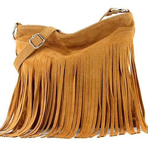 bd91c0682955a modamoda de - ital sac à bandoulière en daim frangé T125, Couleur:T145  Curcuma