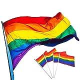 Regenbogen Flagge, 10Pack Small rainow Flagge Gay Pride und 1Pack Big Size Rainbow Flagge, Small Hand Waving Flag für Festival Carnival Party Dekorationen, Polyester zum Aufhängen Rainbow Flagge mit Vivid Farbe