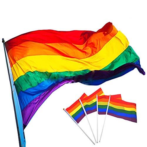 Gay Pride Rainbow Flagge, 150x 90cm groß, Polyester Aufhängen Rainbow Gay Lesbian Flagge und 20Stück kleine Rainbow Flagge 14x 21cm für LGBT Pride Parade Festival Karneval Mardi Gras Party Dekorationen