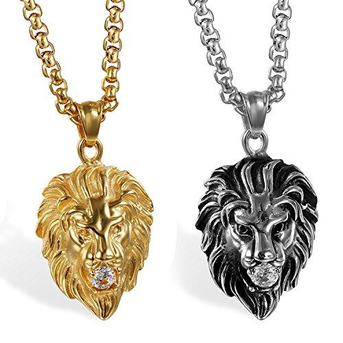 JewelryWe Schmuck 2pcs Herren Biker Halskette, Edelstahl Zirkonia Gotik Punk Rock Löwe Löwenkopf Anhänger mit 22 Zoll Kette, Silber Gold