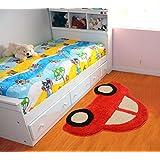 Saral Home Microfiber Kids Mat - Red, 45x70cm