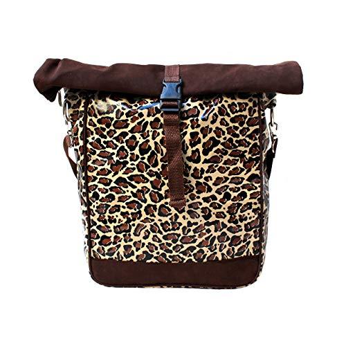 IKURI einseitige Fahrradtasche für Gepäckträger Satteltasche Einzeltasche Packtasche, abnehmbar, mit Tragegurt zum Umhängen, aus Wachstuch, Damen, wasserdicht, Modell Leopard -