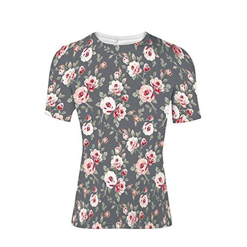 T-Shirts Tops, Rosen Blätter Bush Knospen Vorbauten ländlichen Bereich klassisch, Mens 3D Print