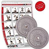 POWRX Hantelscheiben Set | verschiedene Gewichtsvarianten 5-40 kg | Gusseisen Gewichte | 30 mm Bohrung (2 x 10 kg)