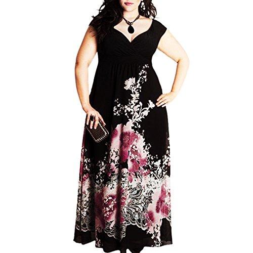 58d7b4163a84e3 Sommerkleider Damen Große Größen V-Ausschnitt Ärmellos Blumenmuster Lange  Maxikleid Frauen Elegant Strand Kleider (