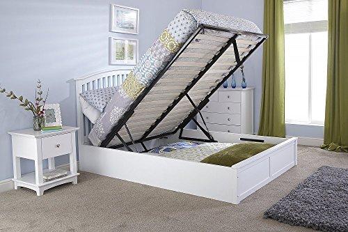 Weißes Madrid-Doppelbett aus Holz (137 cm) - mit Bettkasten
