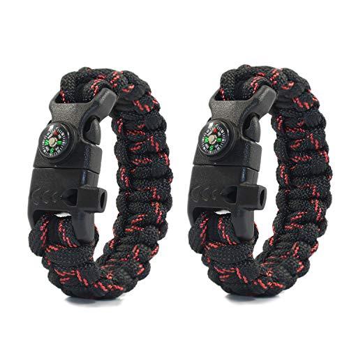 PSKOOK Paracord Survival Armband mit elastischen Schock Seil Kompass Whistle Feuerstarter Wildnis Taktische Notfall Ausrüstung Kit 2PCS (Schwarz Rot)