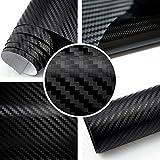 TipTopCarbon 6,57€/m² 3D Carbon Folie schwarz BLASENFREI 3m x 1,52m mit Luftkanäle Autofolie selbstklebend
