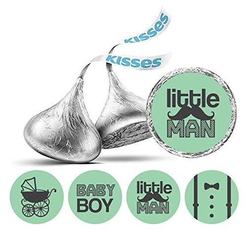 Darling Souvenir Hershey Kisses Süßigkeit Labels Little Man Runde Sticker 190 Pcs Partei Fabor-Mint