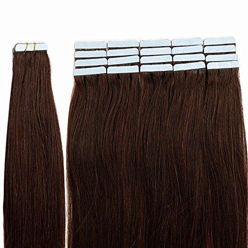 Tape Extensions Echthaar Dunkelbraun #02 Haarverlängerung Echthaar 40 Tressen 100g Glatt (24zoll-60cm)